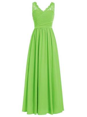 EDressy Bridesmaids Dresses V-Neck Lace Prom Dress Long Chiffon Prom Formal Evening Gown US