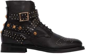 Fausto Puglisi Pebbled Leather W/Studs Boots