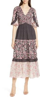 Rebecca Taylor Floral Pattern Mix Cotton Dress