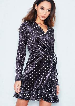 5f5ac43ede7 Missy Empire Missyempire Mimi Black Velvet Polkadot Frill Wrap Mini Dress