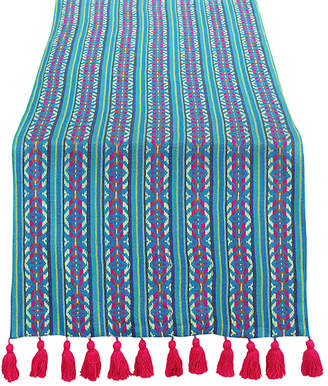 Casa Amarosa Woven Table Runner with Pink Tassels