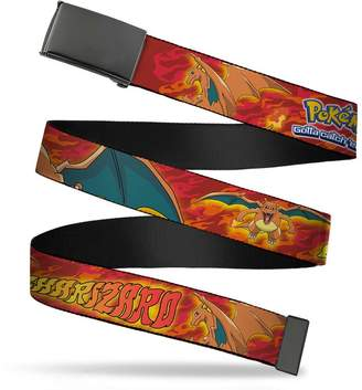 "Pokemon Buckle Down Buckle-Down Web Belt CHARIZARD Poses/Flames Reds - 1.25"" Wide - Fits up to 42"" Pant Size"