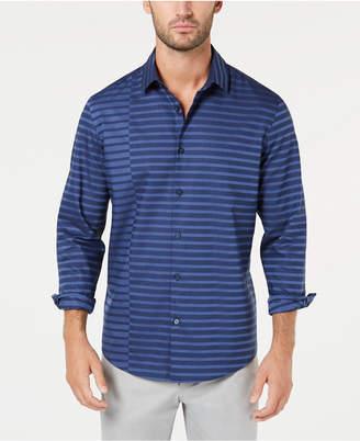 Alfani Men's Pieced Stripe Twill Shirt