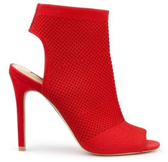 74f6c05a625 at Debenhams · Miss Selfridge Red Candy Knitted Peep Toe Heel Sandals