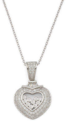Sterling Silver Cz Halo Cz Floating Heart Necklace