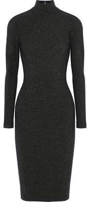 Fleur Du Mal Open-Back Cutout Stretch-Knit Turtleneck Dress