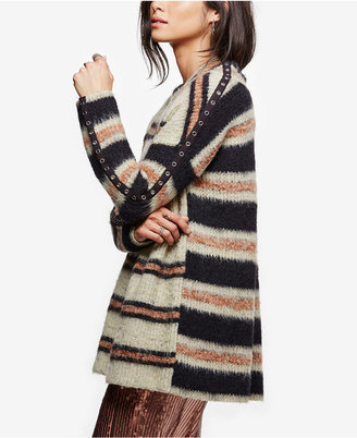 Free People Embellished Striped Tunic Sweater $168 thestylecure.com