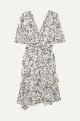 Isabel Marant Arodie Printed Crepe De Chine Dress - Gray