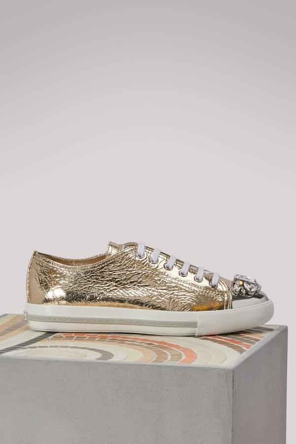 Miu Miu Gold leather sneakers