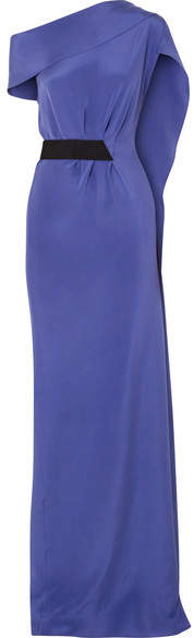 Minton One-shoulder Silk-crepe Gown - Indigo