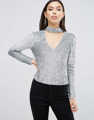 Asos Night Top With High Neck In Sequin Embellishment