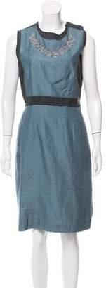 Philosophy di Alberta Ferretti Wool-Paneled Silk Dress