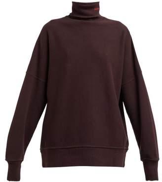Calvin Klein Distressed Trim Cotton Jersey Roll Neck Sweatshirt - Womens - Brown