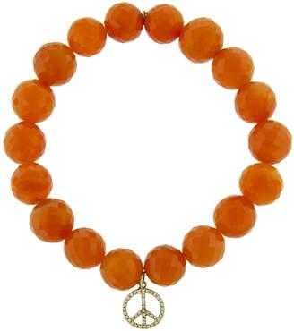 Sydney Evan Medium Diamond Peace Sign Charm On Carnelian Beaded Bracelet