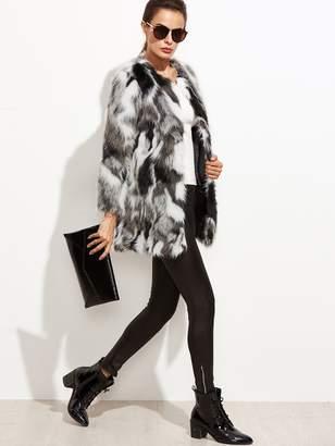 Shein Faux Fur Open Front Fuzzy Coat
