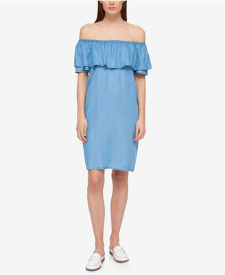 Tommy Hilfiger Ruffled Off-The-Shoulder Dress, Only at Macy's $99.50 thestylecure.com