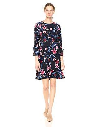 Nine West Women's Printed Fit and Flare Dress with Bell Sleeve & Tie Detail