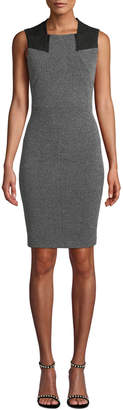 Donna Karan Sleeveless Stretch-Tweed Zipper-Neckline Dress