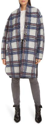 Etoile Isabel Marant Gabriel Plaid Wool Blend Coat