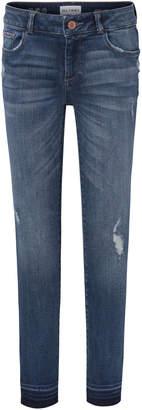 DL1961 Premium Denim Medium Wash Distressed Skinny Jeans w/ Double Cross Hem, Size 7-16