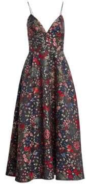 ML Monique Lhuillier Sleeveless Floral A-Line Midi Dress