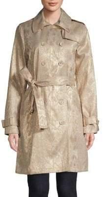 Calvin Klein Floral Brocade Trench Coat