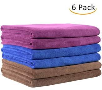 """Unbranded Microfiber 6 -Piece Bath Towel Set (27 x 55"""") - Extra Absorbent, Fast Drying Multipurpose Use as Bath Fitness Towel, Sports Towels, Yoga Towel, Solid Blue/ Brown/ Purple"""