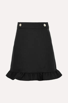 Tory Burch Ruffled Twill Skirt - Black
