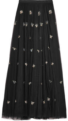 Needle & Thread Lumiere Embellished Tulle Maxi Skirt - Black