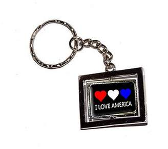 Generic I Love America With Three Hearts New Keychain Ring
