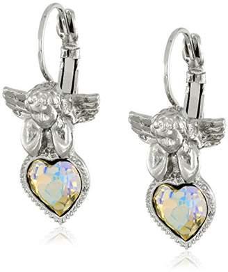 "Symbols of Faith ""Inspirations"" Silver-Tone Crystal Ab Heart Angel Earrings"