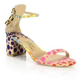 Salvatore Ferragamo By Edgardo Osorio Connie Polka-Dot Cork Mid-Heel Sandals