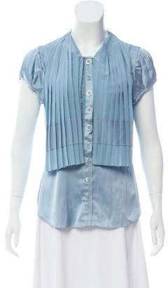 Zac Posen Short Sleeve Silk Top