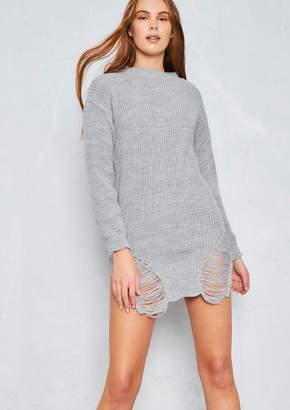 bce3daea61762e Missy Empire Rosita Grey Distressed Knit Jumper Dress