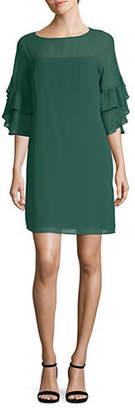 Vince Camuto Bell-Sleeve Chiffon Shift Dress