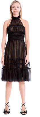 Max Studio ruffled mesh cocktail dress
