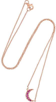 Andrea Fohrman Mini Crescent 18-karat Rose Gold Ruby Necklace