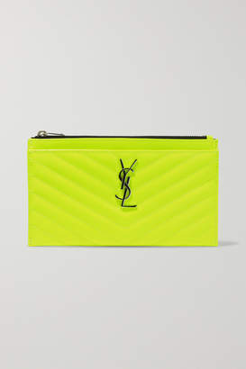 Saint Laurent Monogramme Neon Quilted Textured-leather Pouch - Yellow