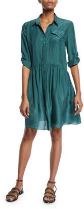 Brunello Cucinelli Oversized Button-Front Silk Shirtdress