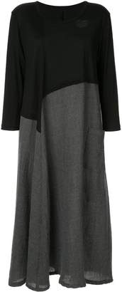 Y's contrast asymmetric panel shirt dress