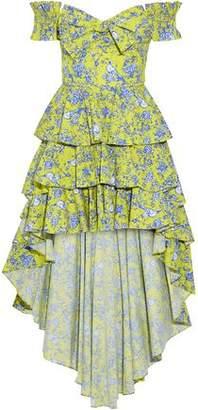 Caroline Constas Artemis Off-The-Shoulder Tiered Printed Cotton-Blend Poplin Dress