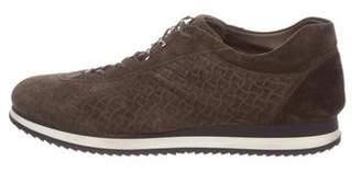 Stuart Weitzman Suede Woven Sneakers