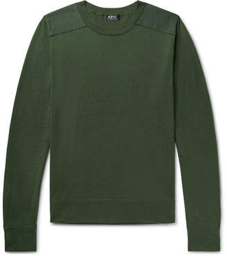 A.P.C. Ernest Canvas-Trimmed Knitted Sweater - Men - Dark green
