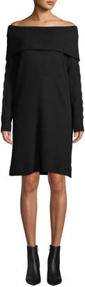 Love Scarlett Marilyn-Collar Off-the-Shoulder Long-Sleeve Sweaterdress