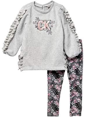 Calvin Klein Ruffle Sweatshirt & Leggings Set (Little Girls)