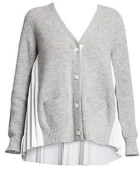 Sacai (サカイ) - Sacai Women's Plissé Wool Knit Cardigan
