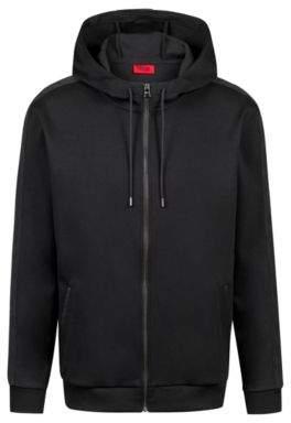 HUGO Boss Oversized-fit hooded sweatshirt tonal contrasts M Black