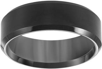 Lovemark Black Ion-Plated Tungsten Beveled Men's Wedding Band