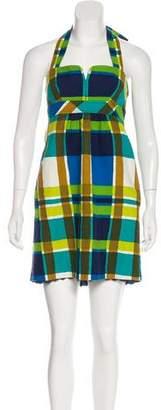Trina Turk Plaid Halter Dress
