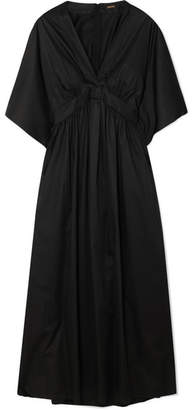 ADAM by Adam Lippes Gathered Cotton-poplin Midi Dress - Black